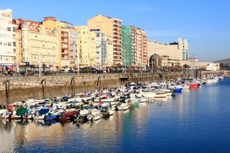 santander: dock with sailboats in the city of Santander, Spain