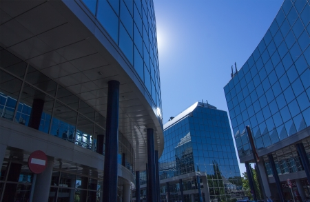 recently: MADRID, SPAIN OCT 15  Modern building with glass architecture on October 15 2012, In one of the most modern financial areas of Madrid, recently premiered this modern complex of offices for rent