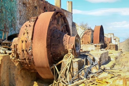 conveyors: hoppers rusty old iron ore