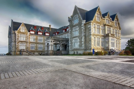 college building: Nice Magdalena Palace in Santander, Spain Stock Photo