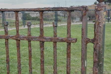 old rusty bars of an iron gate photo