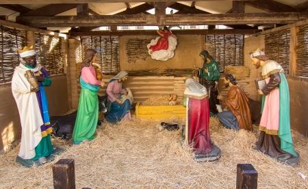 Nativity Scene, born of Jesus Christ Editorial