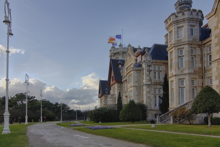 magdalena: Nice Magdalena Palace in Santander, Spain Editorial