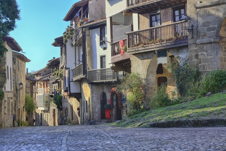 Streets typical of  Santillana del Mar, Spain