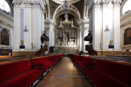 seats the interior of Cathedral Basilica of Nuestra Señora del Pilar, built in the year 1681 in Zaragoza, Spain