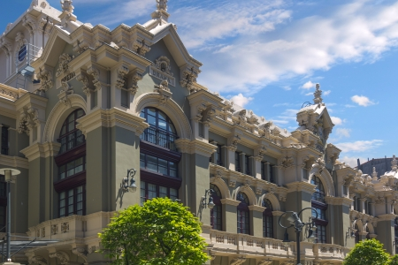 aviles: beautiful facade of ancient building in the old of the city of Aviles in Spain