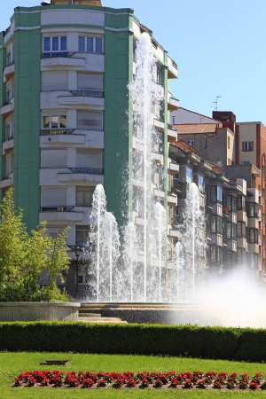 Street and Park in the city of Oviedo, Spain