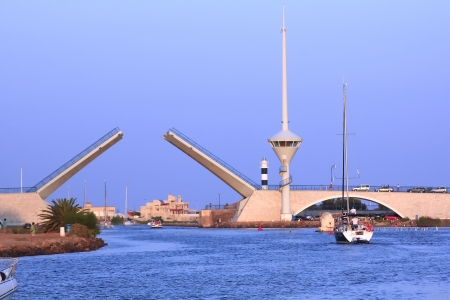 drawbridge: modern drawbridge in San Javier, Spain