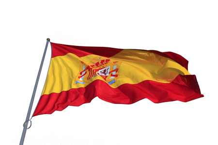 Spanish flag fluttering in the wind silhouetted on white background photo