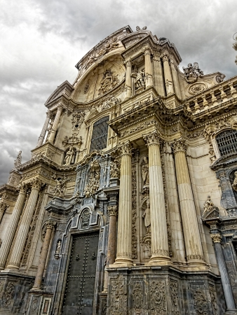 Murcia Cathedral of the year 1465 a day of storm, in Murcia, Spain
