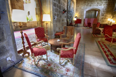 luxurious living room of medieval castle