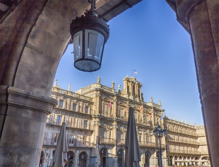facade of the famous Plaza Mayor of Salamanca, Spain photo