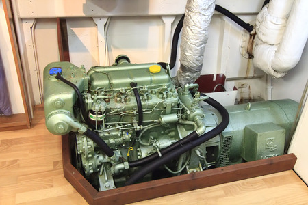 diesel engine of a small boat photo