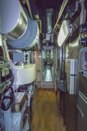 narrow corridor of ancient submarine