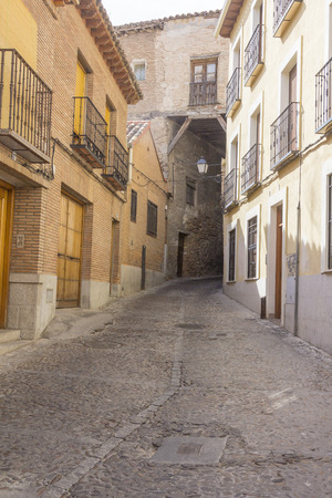 old narrow medieval streets of the resort town of Toledo, Spain