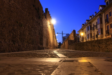 marcos: Night image of the medieval streets of the city of Leon, Spain Stock Photo