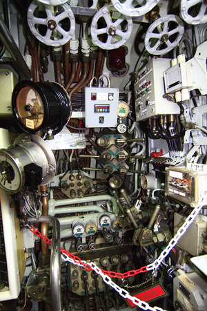 adjustment and control panels of an old submarine