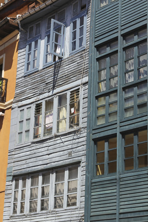 many windows: old wooden building with many windows Stock Photo