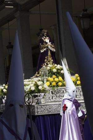 fiestas: VALLADOLID, SPAIN - APRIL 18: International interest Fiestas de Santa typical week in Spain Nazarene processions and bands of music April 18, 2014 in Valladolid Spain Editorial