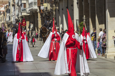 holy week: VALLADOLID, SPAIN - APRIL 18: International interest Fiestas de Santa typical week in Spain Nazarene processions and bands of music April 18, 2014 in Valladolid Spain Editorial