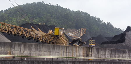 huge excavator of coal in a mine photo