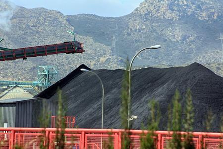 conveyor rail: special crane to transport coal belt Stock Photo