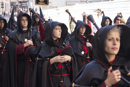 semana santa: VALLADOLID, SPAIN - APRIL 17: Easter week (Semana Santa), Nazarene processions and bands of music, celebrations of international interest April 17, 2014 in Valladolid Spain Editorial