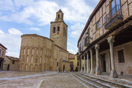 mudejar: Church of Santa Maria with typical houses in Arevalo, Spain