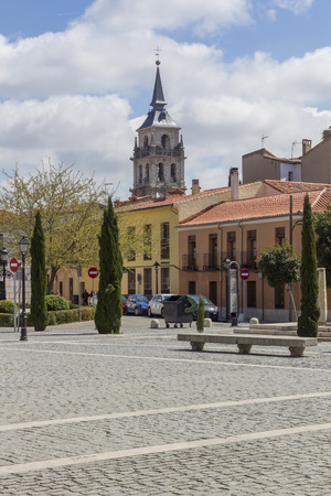 streets and old buildings of the town of Alcala de Henares, Spain