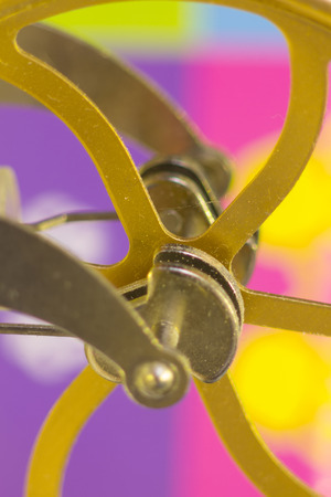shafts: crank shafts and pulleys of machinery in bronze wheels Stock Photo