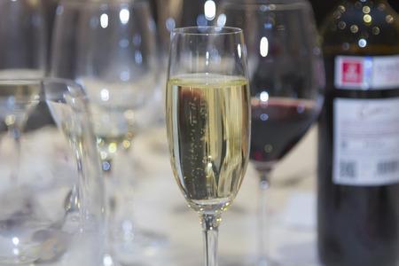 elaboration: glasses of wine and alcoholic beverages elaboration Stock Photo