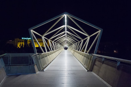 details abstract bridge pedestrian walkway of Moneo, modern structure at night in Valladolid, Spain