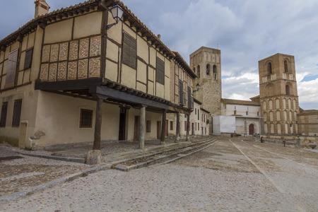 mudejar: Famous Plaza Mudejar style, with arcades (Plaza de la Villa) Arevalo, Spain