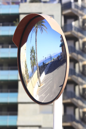 concave: convex mirror for traffic at the corners