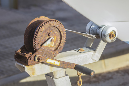 pulley: rusty pulley to raise a trailer boats