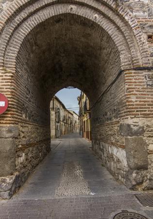 mudejar: Mudejar brick passageway Santa Maria, in Arevalo, Spain Stock Photo