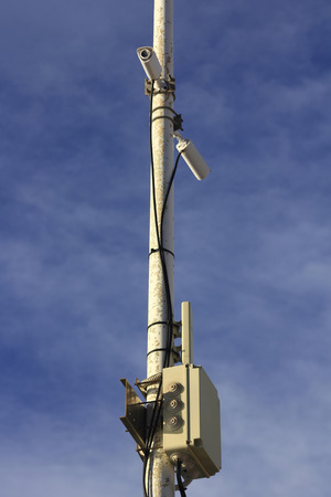 pole with surveillance cameras photo