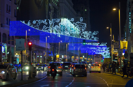 MADRID,SPAIN - DECEMBER 18: traffic on the streets of Madrid during Christmas December 18, 2014 in Madrid Spain