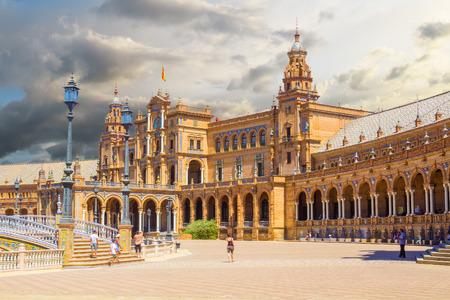 plaza: Famous Plaza of Spain in Seville, Spain