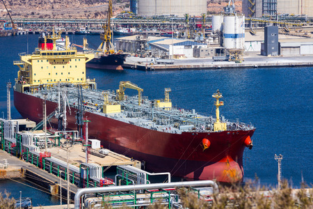 large tankers unloading crude oil