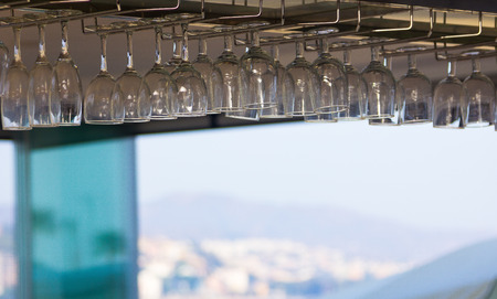adorning: crystal glasses adorning the roof of a cafe
