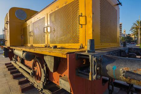 diesel: Old yellow diesel locomotive mid-twentieth century for mining