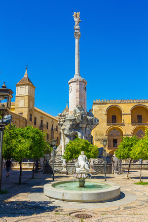 small decorative fountain in city of Cordoba, Spain photo