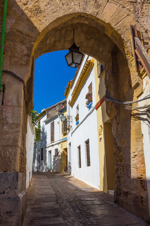 spanish homes: Streets decorated with bows and barred windows typical of the city of Cordoba, Spain