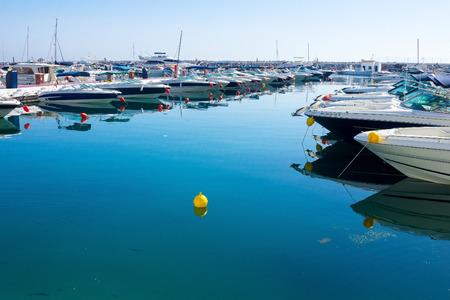 moored: the bow boats moored at a marina