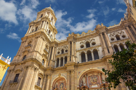 incarnation: Bell tower of the Cathedral of the Incarnation in Malaga, Spain Stock Photo