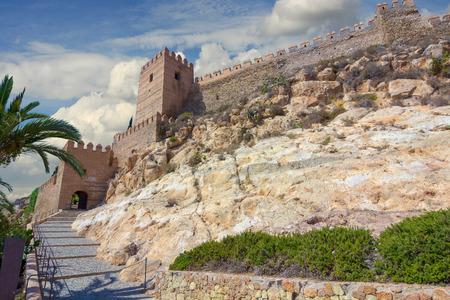 La Alcazaba and walls of the Cerro de San Cristobal, Almeria Spain Editorial