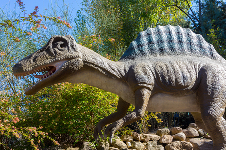 biped: Dinosaur with Spinosaurus dorsal fin Stock Photo