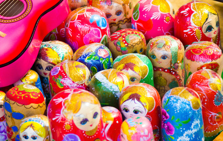 russian dolls: background colorful Russian dolls