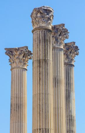 columnas romanas: Roman columns of the second century before Christ in Cordoba, Spain Foto de archivo
